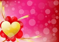 Il cuore ed il nastro di vettore allineano a sinistra di un backgroun di giorno di S. Valentino Fotografia Stock Libera da Diritti