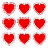 Il cuore ed il pizzo per il giorno o le nozze del ` s del biglietto di S. Valentino Immagine Stock Libera da Diritti