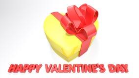 Il cuore ha modellato il contenitore di regalo per il giorno del ` s del biglietto di S. Valentino - rappresentazione 3D Fotografia Stock