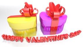 Il cuore ha modellato i contenitori di regalo per il giorno del ` s del biglietto di S. Valentino - rappresentazione 3D Fotografia Stock