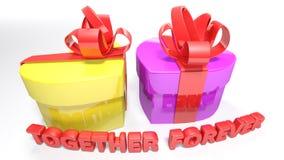Il cuore ha modellato i contenitori di regalo per l'anniversario - rappresentazione 3D Fotografie Stock Libere da Diritti