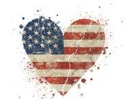 Il cuore ha modellato la bandiera d'annata degli Stati Uniti dell'americano di vecchio lerciume Immagini Stock Libere da Diritti