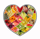 Collage della frutta di amore Fotografia Stock Libera da Diritti