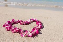 Il cuore ha modellato la spiaggia bianca della sabbia di mare della ghirlanda del fiore dell'orchidea Immagini Stock