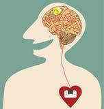 Il cuore, il cervello e l'idea si sono collegati con la spina di corrente Immagine Stock Libera da Diritti