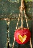 Il cuore incide la mela rossa che pende dalla corda Immagini Stock