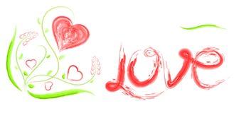 Il cuore, l'amore di titolo e fiori per il giorno o le nozze del ` s del biglietto di S. Valentino Immagini Stock Libere da Diritti