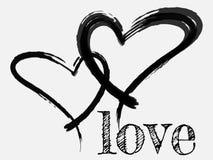 Il cuore nero è dipinto a mano Testo scritto a mano Fondo Fotografie Stock