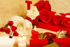 Il cuore romantico ha modellato le candele impostate Fotografie Stock Libere da Diritti