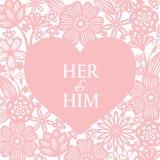 Il cuore rosa e l'arte astratta di vettore del fondo del taglio della carta del fiore progettano per il giorno del ` s della part Fotografia Stock