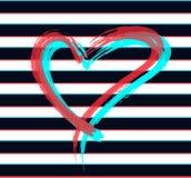 Il cuore rosso è dipinto a mano Testo scritto a mano Fondo f Fotografia Stock Libera da Diritti