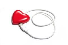 Il cuore rosso connette con la spina del USB Immagini Stock
