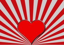 Il cuore rosso del cromo sul fan d'argento rosso rays Fotografie Stock