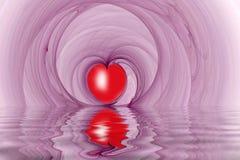 Il cuore rosso modella il frattalo riflesso immagini stock libere da diritti