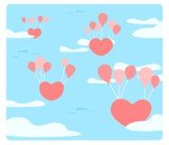 Il cuore sta galleggiando sul cielo con i palloni Fotografie Stock Libere da Diritti