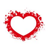 Il cuore stilizzato nell'ambito delle gocce dell'acquerello o spruzza e macchia Immagine Stock Libera da Diritti