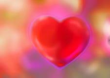Il cuore su un rosso ha offuscato il fondo, l'astrazione colorata, modello dell'arcobaleno, colori di incandescenza Immagine Stock Libera da Diritti