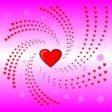Il cuore turbina, biglietto di S. Valentino, illustrazione rosa di vettore del fondo Fotografia Stock