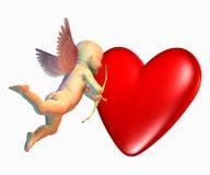 Il Cupid con cuore include il percorso di residuo della potatura meccanica Fotografia Stock