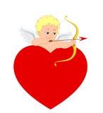Il cupido ed il cuore per il giorno o le nozze del ` s del biglietto di S. Valentino Immagine Stock