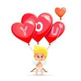 Il cupido sveglio del fumetto che tiene il cuore rosso ha modellato i palloni Fotografia Stock Libera da Diritti