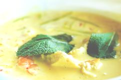 Il curry piccante della minestra della crema del latte di cocco con chiken, gamberetti della tigre, le tagliatelle lunghe della s Fotografie Stock Libere da Diritti