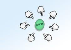 Il cursore del puntatore della mano ci unisce Immagini Stock Libere da Diritti