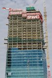 Il Curvo PwC Tower CityLife construction in Milan, Italy. stock photo
