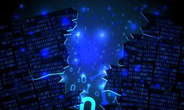 Il Cyberspace futuristico astratto ha inciso la matrice dei dati binari, il codice binario di caduta rotto, fondo della matrice illustrazione vettoriale