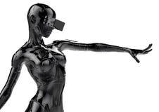 Il cyborg chromeplated alla moda la donna illustrazione 3D Fotografia Stock