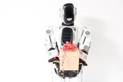 Il cyborg positivo sta facendo la sorpresa Fotografie Stock