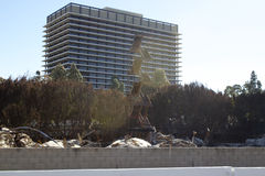 Il Da Vinci Fire in strutture del centro delle scala bruciate Los Angeles Fotografie Stock Libere da Diritti
