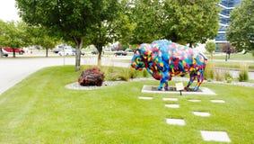 Il Dakota del Nord ha colorato il bisonte Fotografia Stock