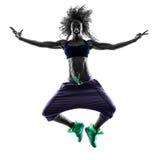 Il dancing del ballerino di zumba della donna esercita la siluetta Immagine Stock