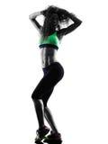 Il dancing del ballerino di zumba della donna esercita la siluetta Fotografia Stock Libera da Diritti