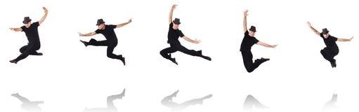 Il dancing del ballerino sul bianco Fotografie Stock