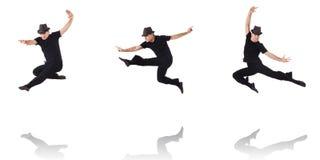 Il dancing del ballerino sul bianco Fotografia Stock