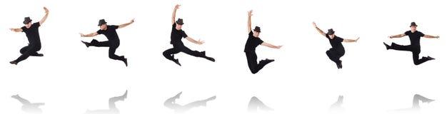 Il dancing del ballerino sul bianco Immagini Stock Libere da Diritti