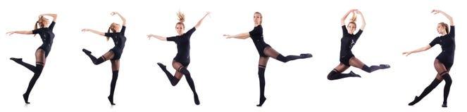 Il dancing della donna isolato sul bianco Fotografia Stock