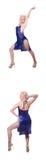 Il dancing della donna isolato sul bianco Immagine Stock