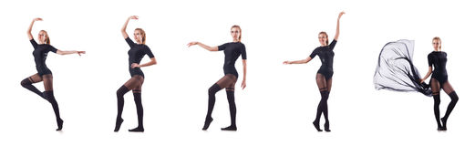 Il dancing della donna isolato sul bianco Fotografie Stock Libere da Diritti
