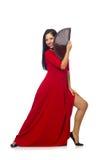Il dancing della giovane donna isolato su bianco Fotografie Stock Libere da Diritti