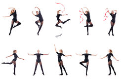Il dancing della giovane donna sul fondo bianco Immagine Stock Libera da Diritti