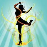 Il dancing di balletto mostra la giovane donna e l'aerobica Fotografia Stock
