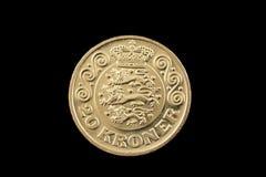 Il Danese 20 corone scandinave conia isolato su un fondo nero Fotografia Stock Libera da Diritti