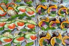 Il Danese di Smoerrebroed aperto ha affrontato i panini Immagine Stock