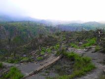Il danno dell'eruzione della montagna di merapi fotografia stock libera da diritti