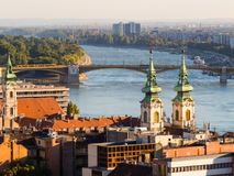Il Danubio e tetti di Budapest, Ungheria Fotografia Stock Libera da Diritti