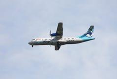 Il Danubio traversa ATR-72 volando Fotografie Stock