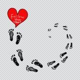 Il ` dell'iscrizione segue il vostro ` del cuore con le orme illustrazione vettoriale